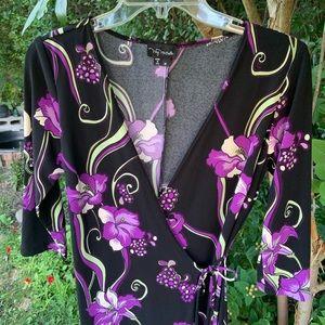 Purple black floral dress